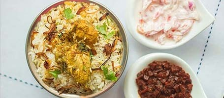 Nadan Chicken Biryani, Pickle And Onion Pachadi